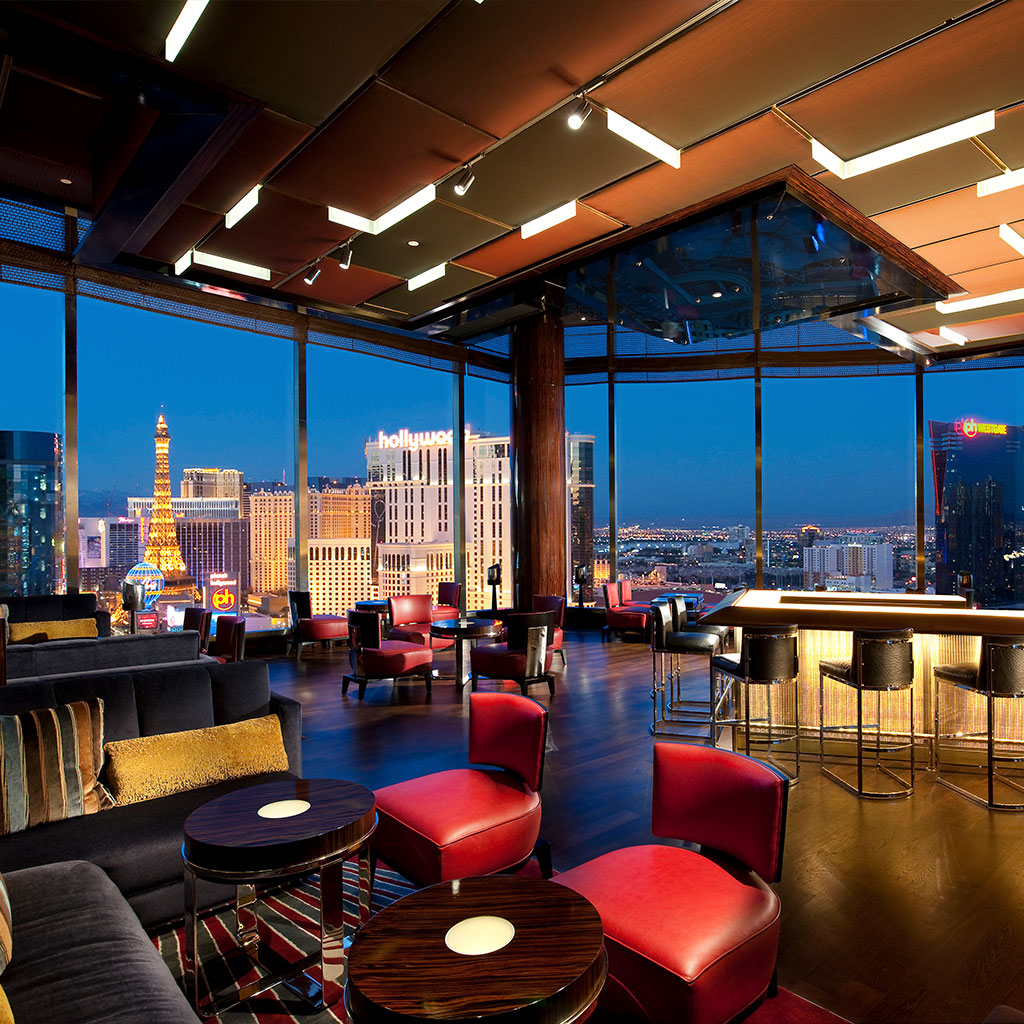 Skybar interior view at night
